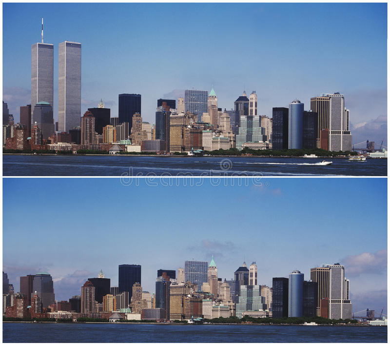 De horizon van New York Manhattan - Before and after 9/11 royalty-vrije stock afbeeldingen