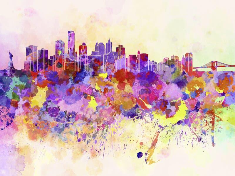 De horizon van New York op waterverfachtergrond royalty-vrije illustratie