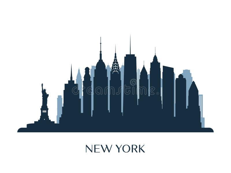 De horizon van New York, zwart-wit silhouet royalty-vrije illustratie