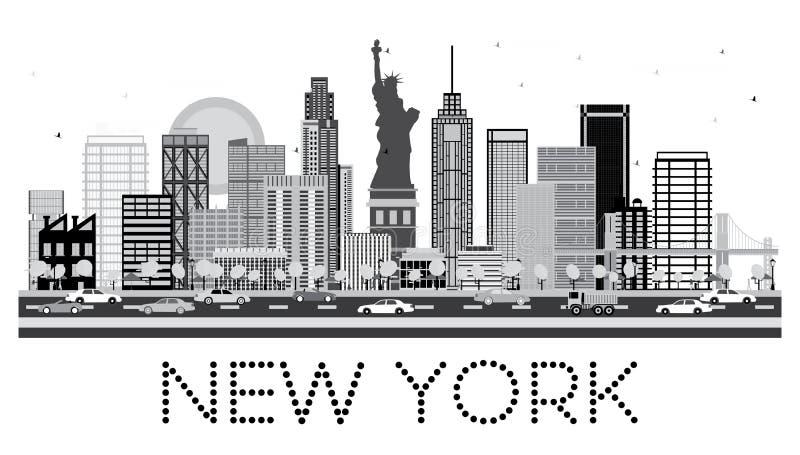 De Horizon van New York in Zwart-witte Kleur vector illustratie