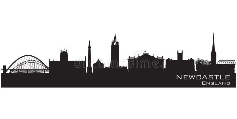 De horizon van Newcastle, Engeland Gedetailleerd vectorsilhouet vector illustratie