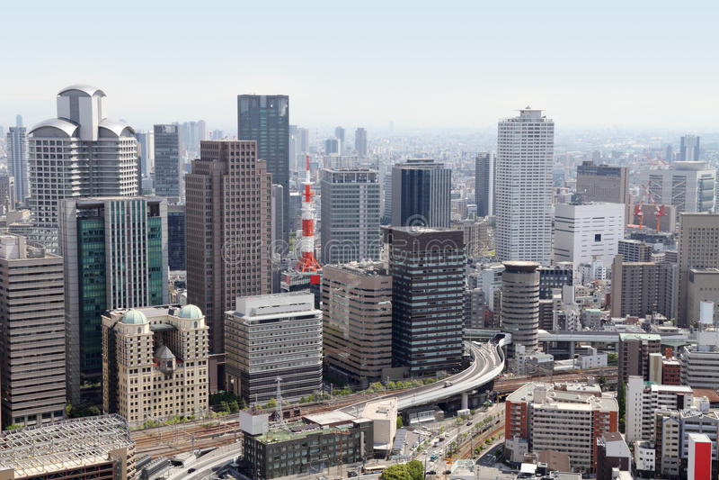 De horizon van Osaka, Japan stock foto