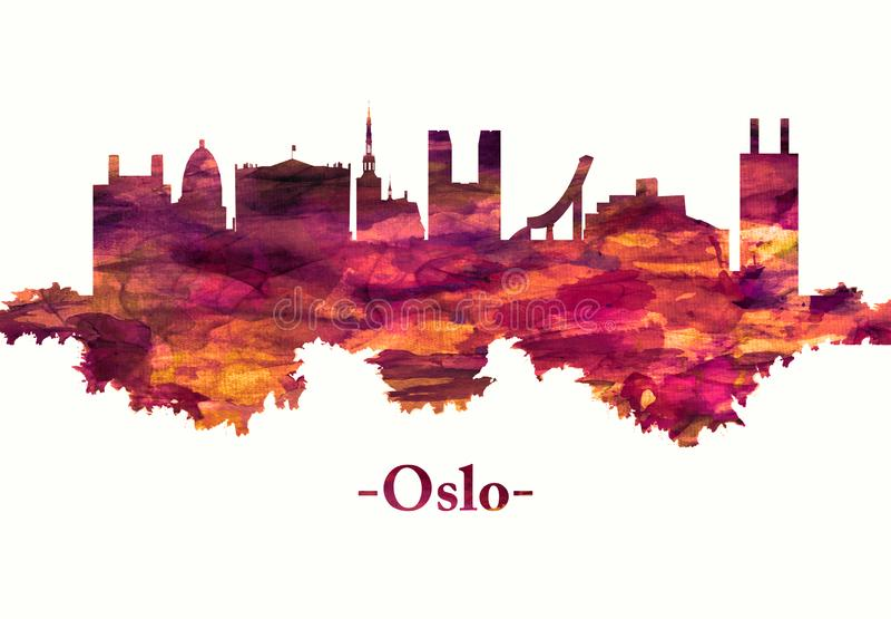 De horizon van Oslo Noorwegen in rood royalty-vrije illustratie