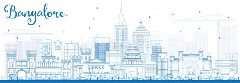 De Horizon van overzichtsbangalore met Blauwe Gebouwen vector illustratie
