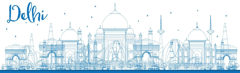 De horizon van overzichtsdelhi met blauwe oriëntatiepunten stock illustratie