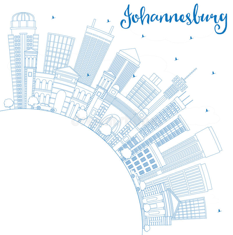 De Horizon van overzichtsjohannesburg met Blauwe Gebouwen en Exemplaarruimte vector illustratie