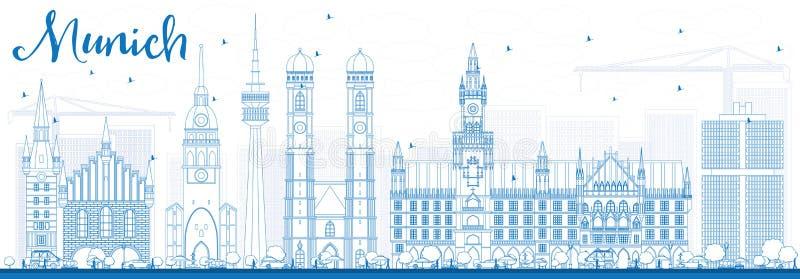 De Horizon van overzichtsmünchen met Blauwe Gebouwen royalty-vrije illustratie