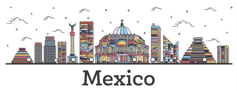 De Horizon van overzichtsmexico-city met Kleurengebouwen die op Wit wordt geïsoleerd vector illustratie