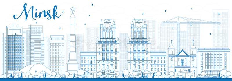 De horizon van overzichtsminsk met blauwe gebouwen vector illustratie
