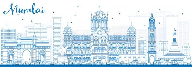 De Horizon van overzichtsmumbai met Blauwe Oriëntatiepunten royalty-vrije illustratie