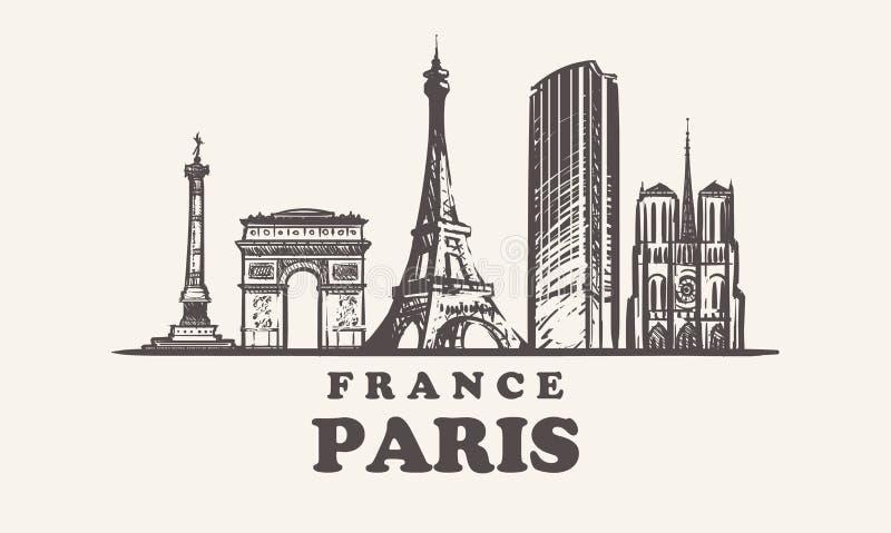 De horizon van Parijs, de uitstekende vectorillustratie van Frankrijk, hand getrokken gebouwen stock illustratie