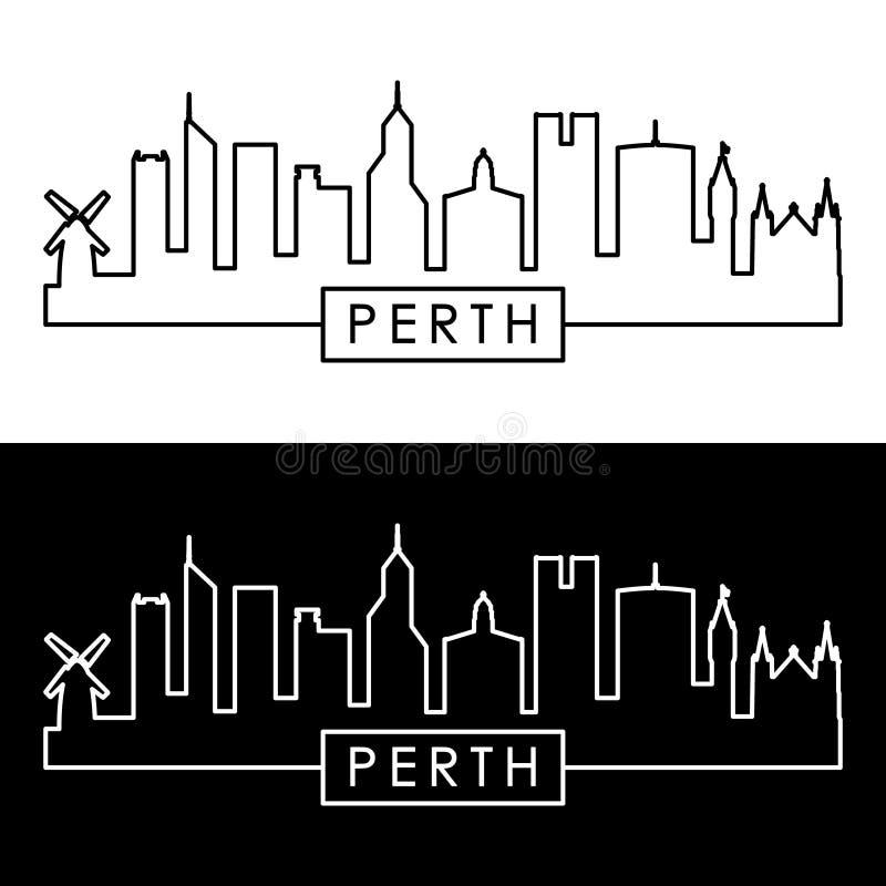 De horizon van Perth lineaire stijl vector illustratie
