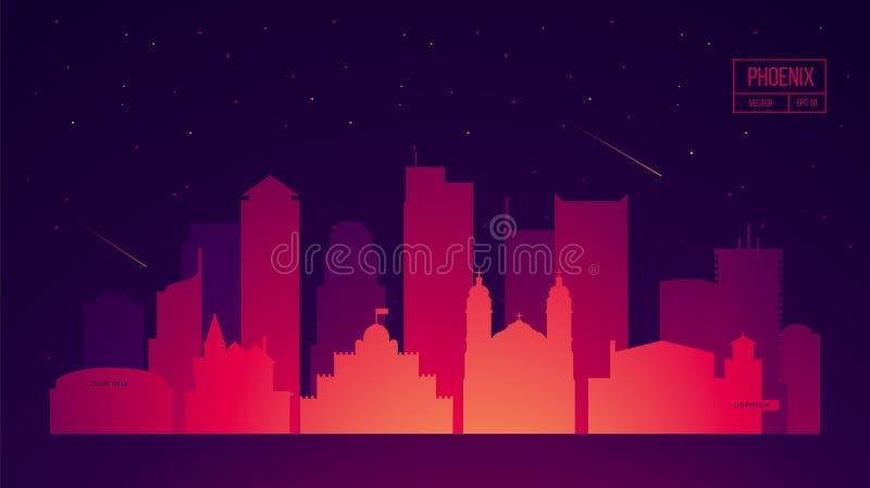 De horizon van Phoenix met gebouwen vectorillustratie royalty-vrije illustratie