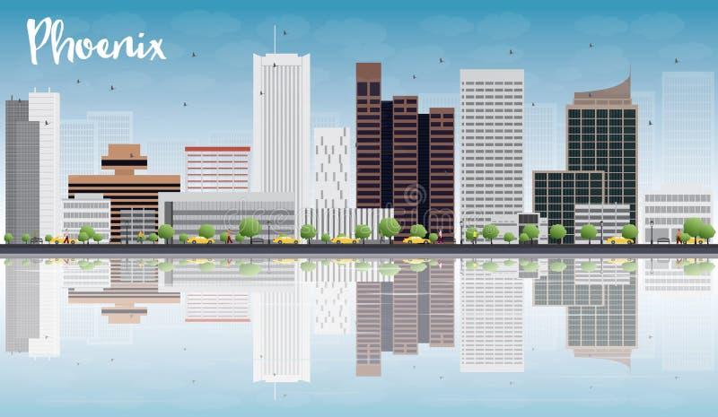 De Horizon van Phoenix met Grey Buildings, Blauwe Hemel en bezinningen stock illustratie