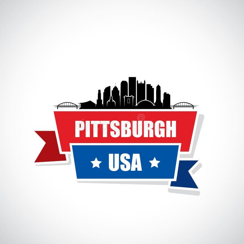 De horizon van Pittsburgh - Pennsylvania - vectorillustratie stock illustratie