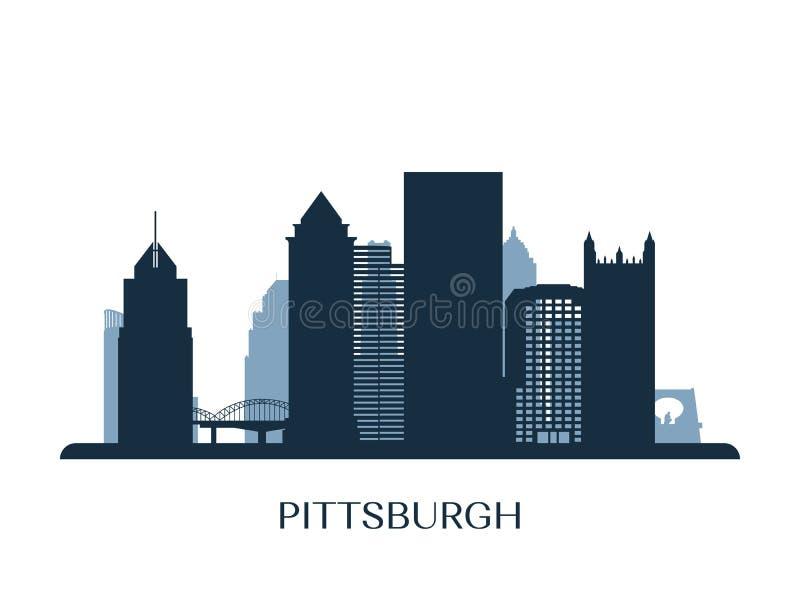 De horizon van Pittsburgh, zwart-wit silhouet vector illustratie