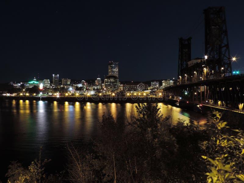 De Horizon van Portland bij nacht royalty-vrije stock afbeelding
