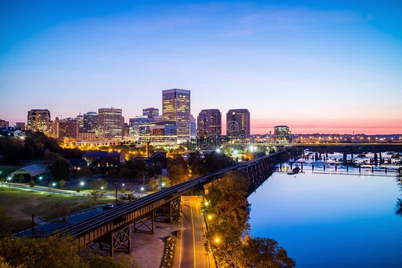 De horizon van Richmond van de binnenstad, Virginia royalty-vrije stock afbeelding