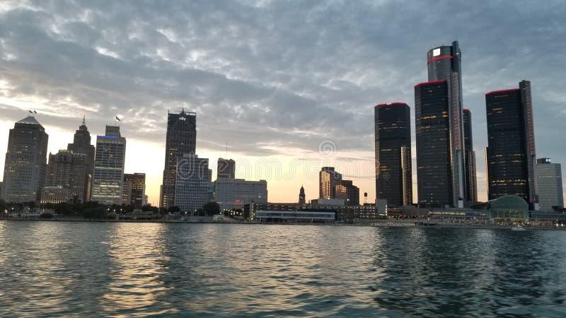 De Horizon van de de Rivierstad van Detroit royalty-vrije stock foto