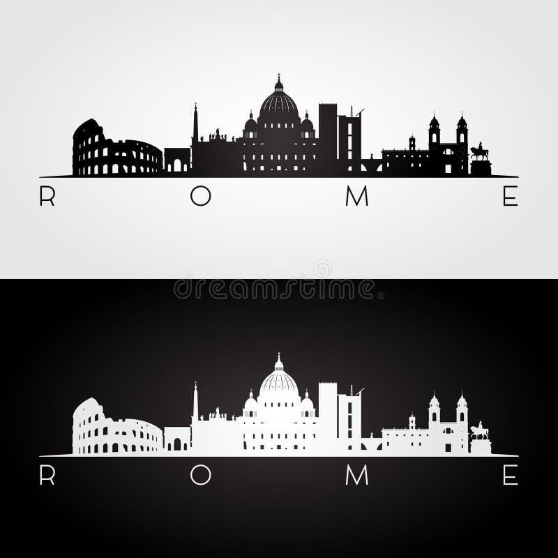 De horizon van Rome en oriëntatiepuntensilhouet royalty-vrije illustratie