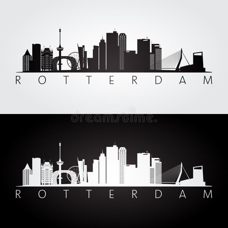 De horizon van Rotterdam en oriëntatiepuntensilhouet royalty-vrije illustratie