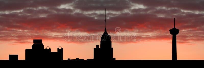 De horizon van San Antonio bij zonsondergang vector illustratie