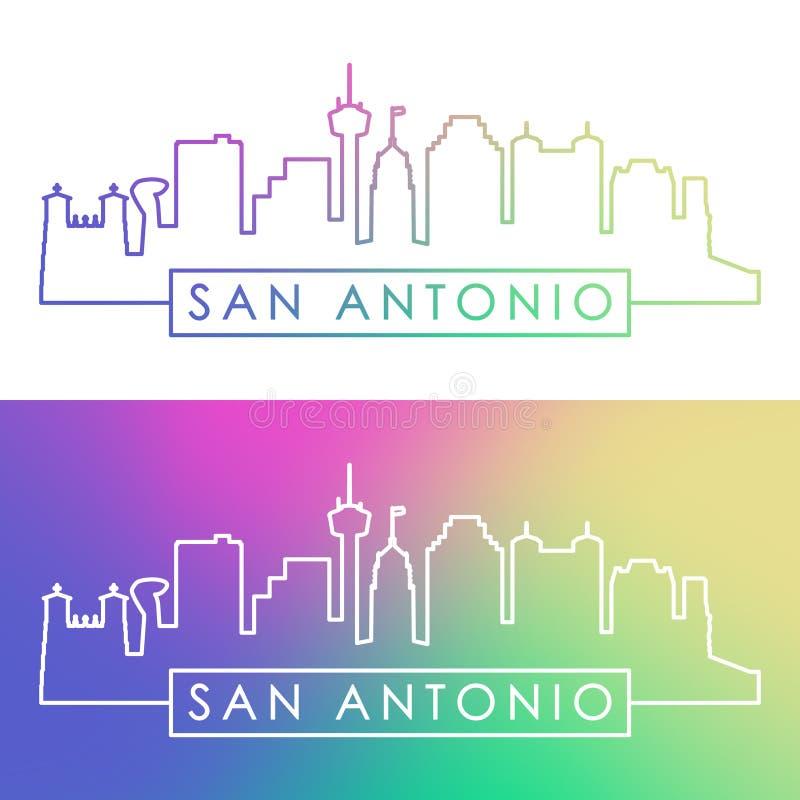 De horizon van San Antonio Kleurrijke lineaire stijl royalty-vrije illustratie