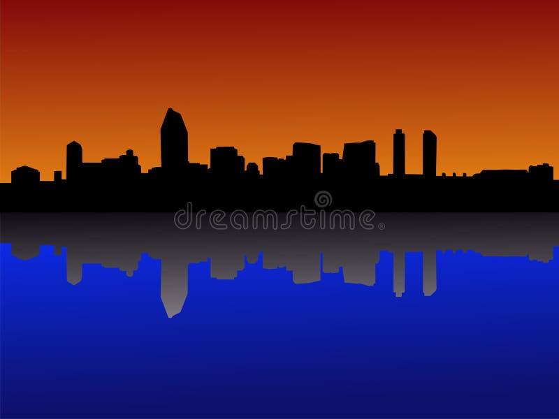 De horizon van San Diego bij zonsondergang stock illustratie