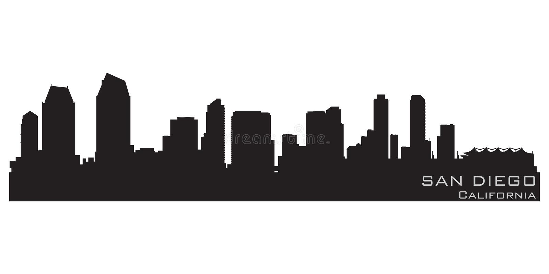 De Horizon van San Diego, Californië Gedetailleerd vectorsilhouet vector illustratie