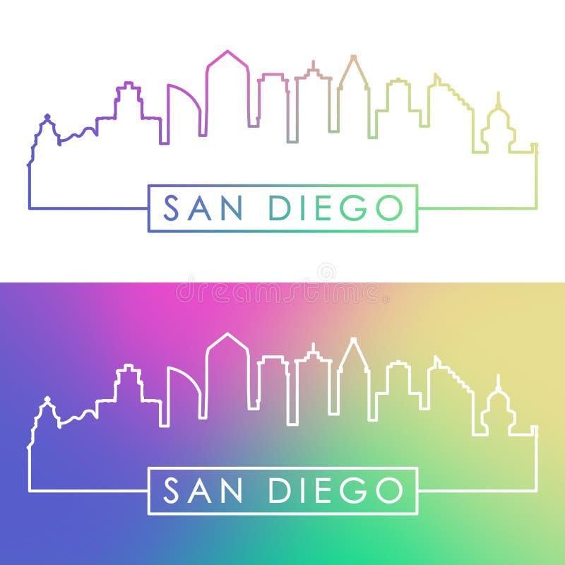 De Horizon van San Diego Kleurrijke lineaire stijl stock illustratie