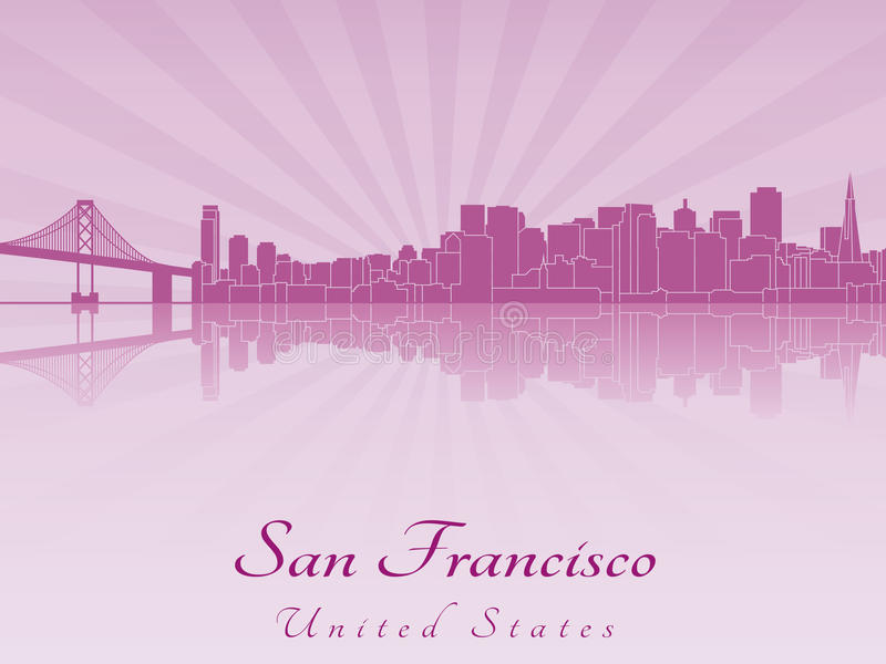Download De Horizon Van San Francisco In Purpere Stralende Orchidee Vector Illustratie - Illustratie bestaande uit nagedacht, californië: 39108402