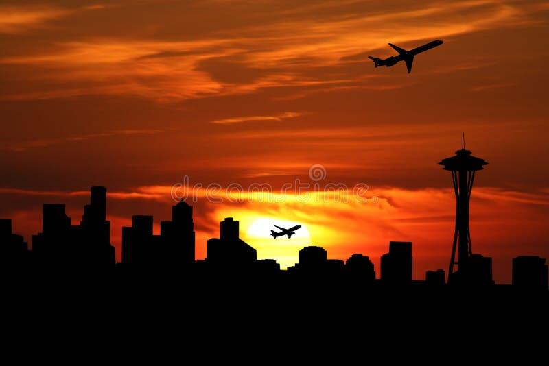 De horizon van Seattle met vliegtuigen royalty-vrije illustratie