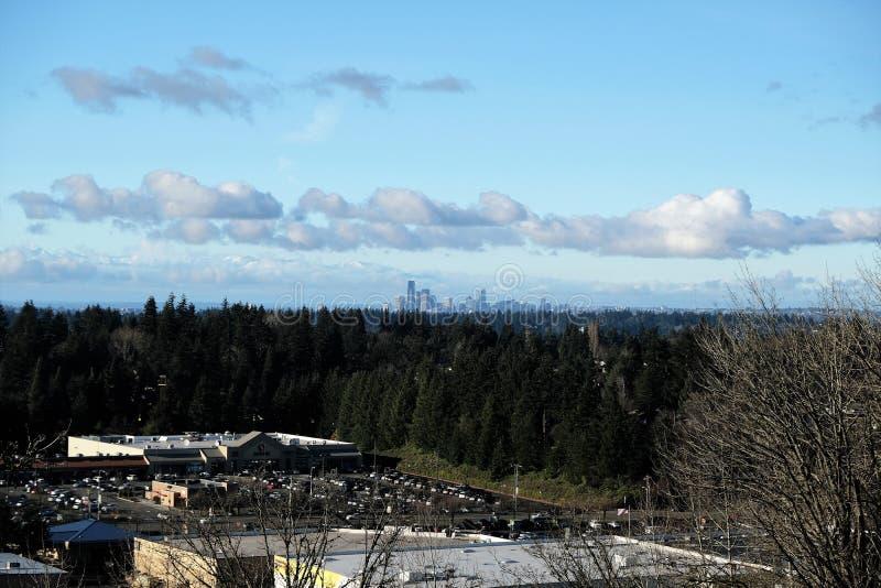 De horizon van Seattle van Newcastle, Washington, de V.S. stock foto