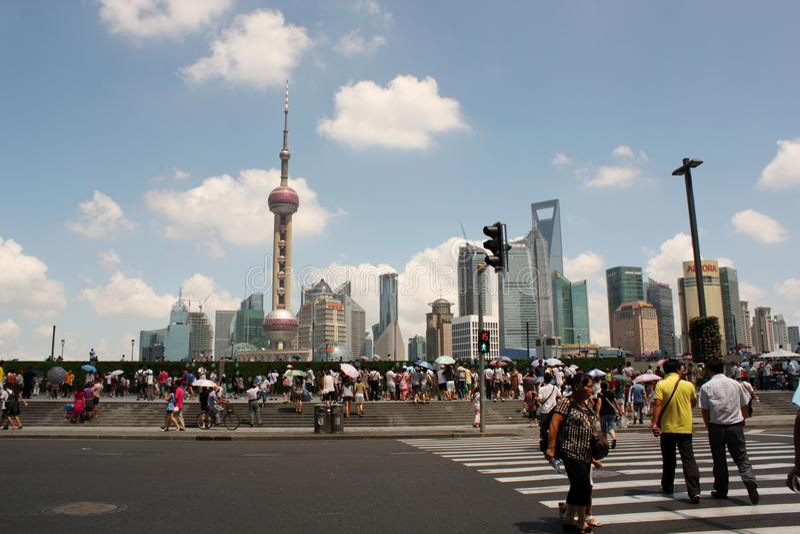 De horizon van Shanghai stock afbeeldingen