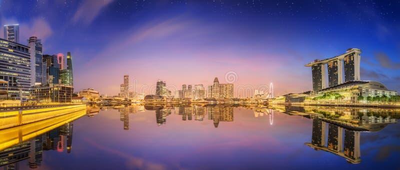 De Horizon van Singapore en mening van Marina Bay royalty-vrije stock afbeelding