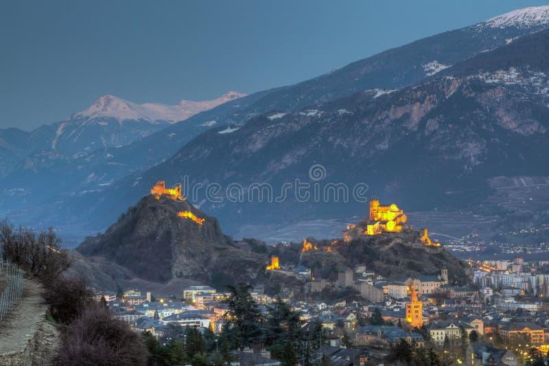 De horizon van Sion, Zwitserland royalty-vrije stock afbeeldingen