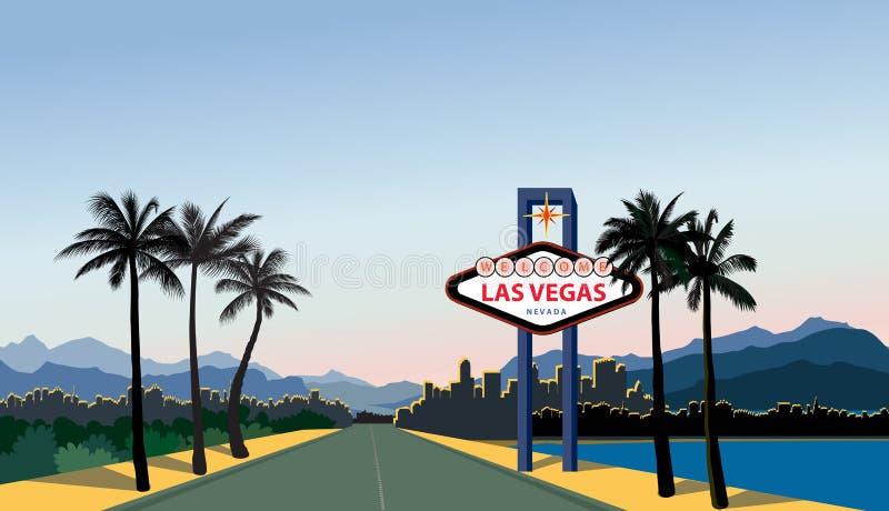 De Horizon van de Stad van Vegas van Las De achtergrond van de reisv.s. Landschap met La royalty-vrije illustratie