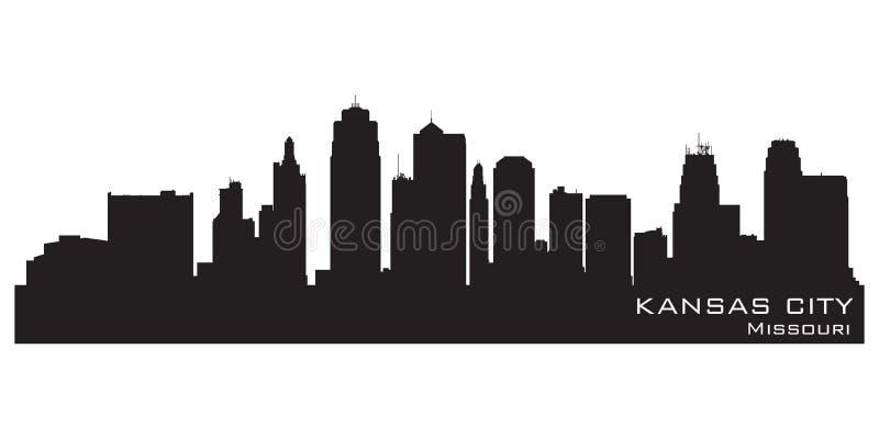 De horizon van de stadsmissouri van Kansas Gedetailleerd vectorsilhouet vector illustratie