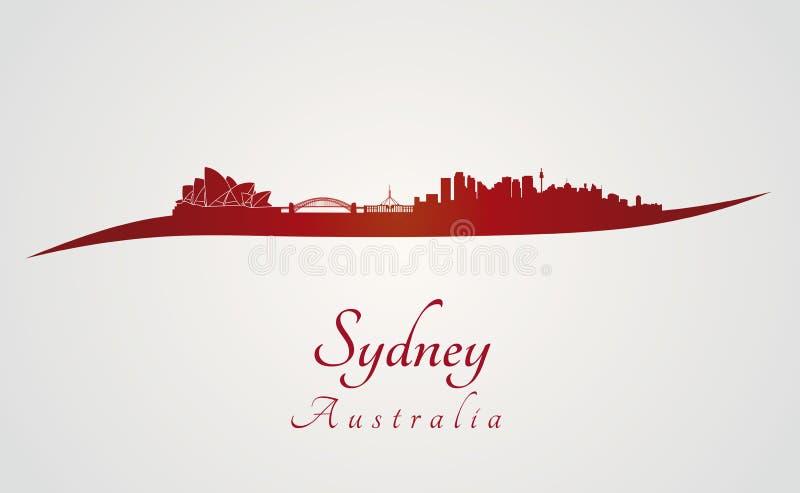 De horizon van Sydney in rood
