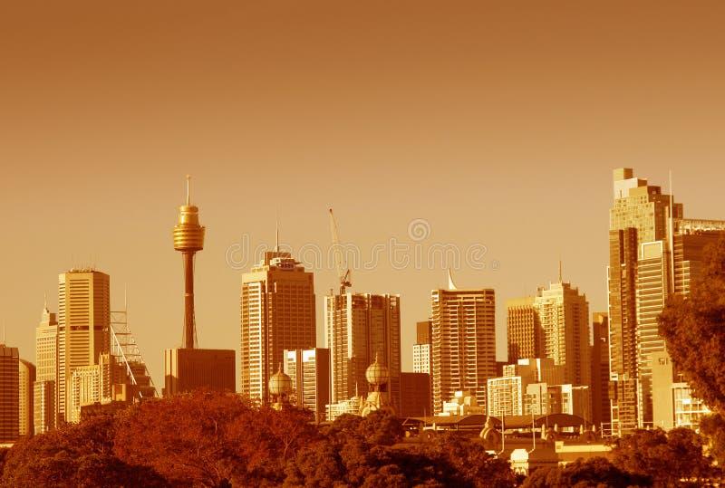 De Horizon van Sydney in Sinaasappel stock fotografie