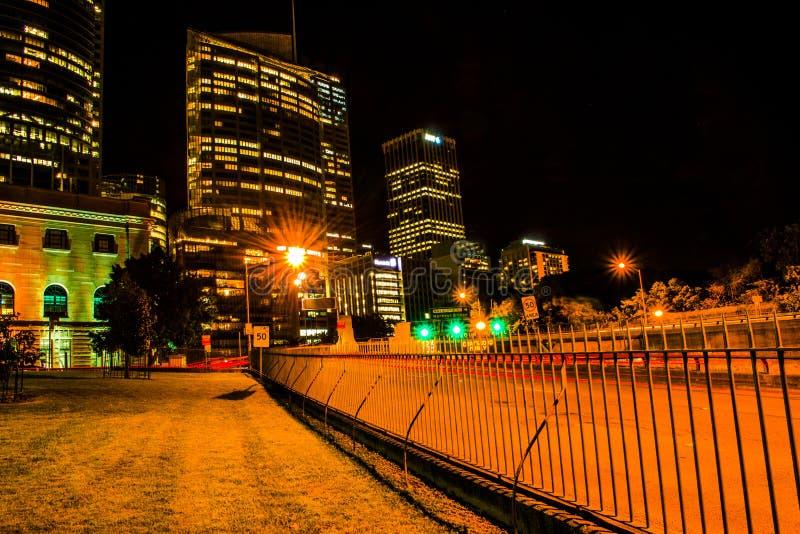 De horizon van Sydney tijdens Nacht royalty-vrije stock foto's