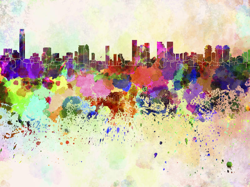 De horizon van Tel Aviv op waterverfachtergrond stock illustratie