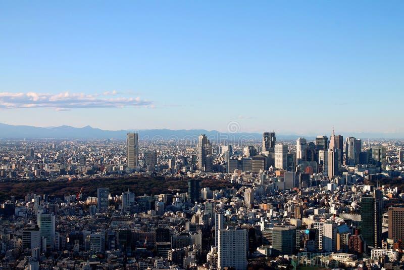 De horizon van Tokyo vanuit opgeheven gezichtspunt met wolkenkrabbers, park en bergen royalty-vrije stock afbeelding