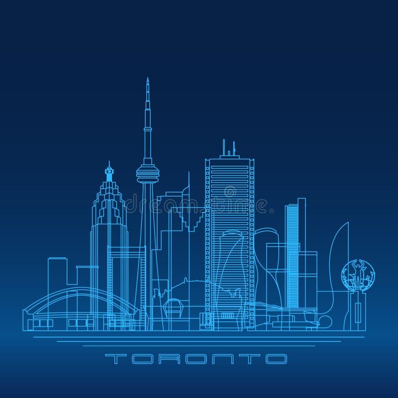 De horizon van Toronto, gedetailleerd silhouet stock illustratie