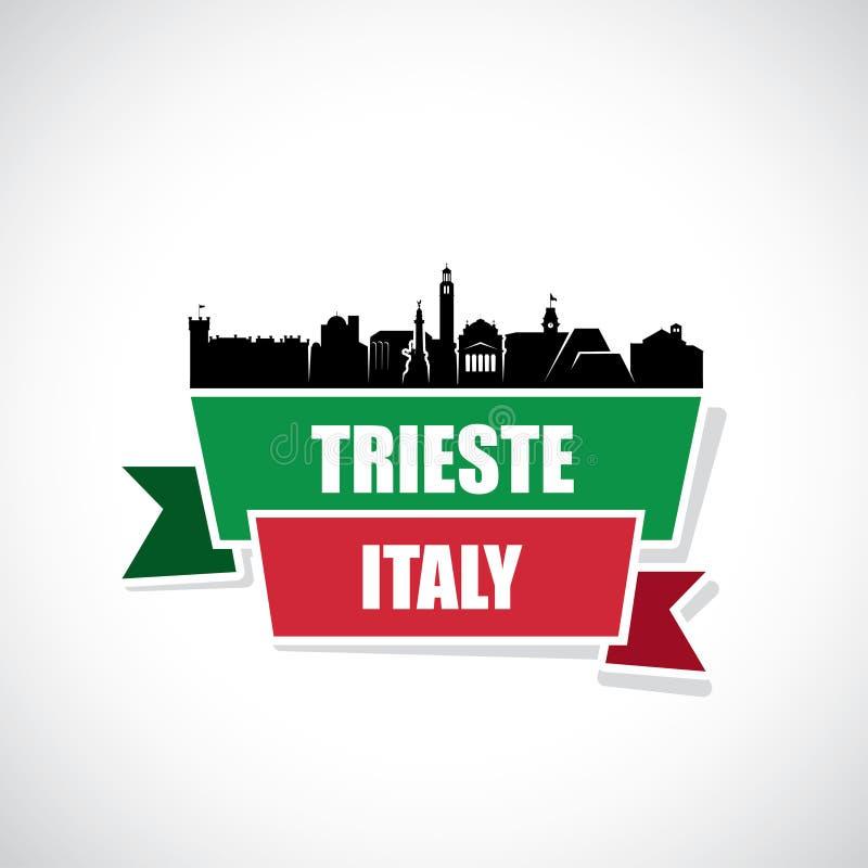 De horizon van Triëst - Italië - lintbanner - vectorillustratie stock illustratie