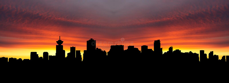 De horizon van Vancouver bij zonsondergang