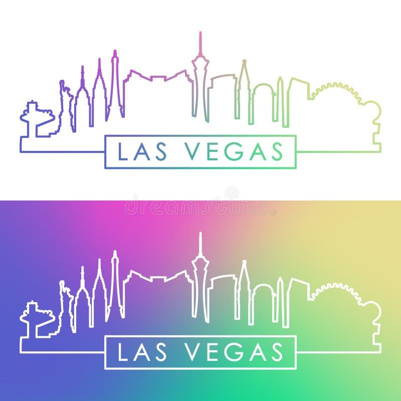 De horizon van Vegas van Las Kleurrijke lineaire stijl stock illustratie