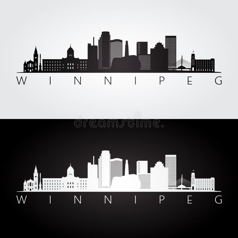 De horizon van Winnipeg en oriëntatiepuntensilhouet stock illustratie