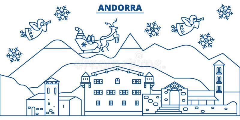 De horizon van de de winterstad van Andorra Vrolijke Kerstmis, gelukkig nieuw jaar vector illustratie