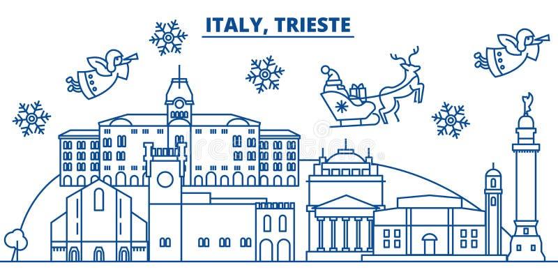 De horizon van de de winterstad van Italië, Triëst Vrolijke gelukkige Kerstmis, stock illustratie